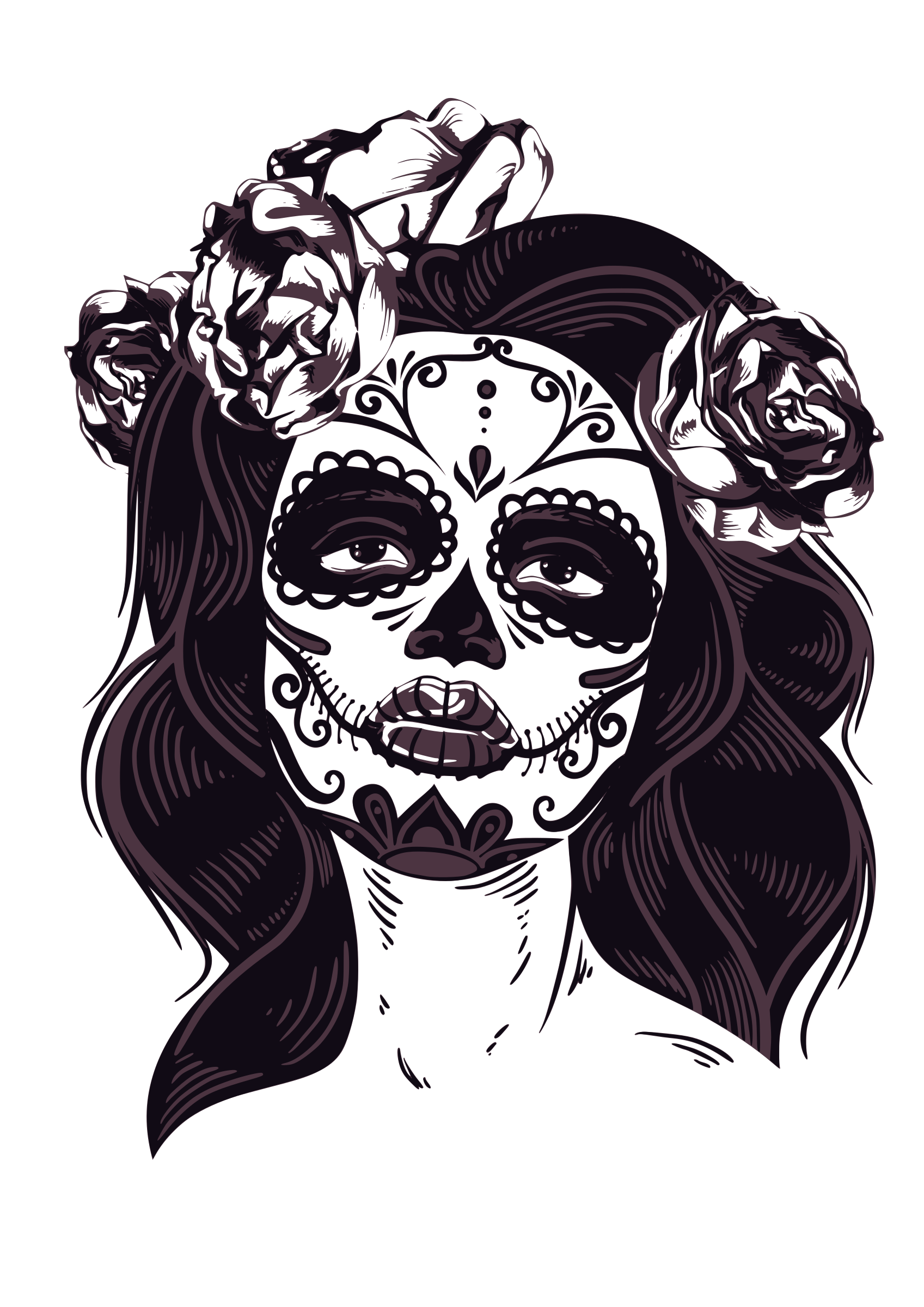 svg freeuse stock By isidoro ambasch embroidery. Catrina drawing