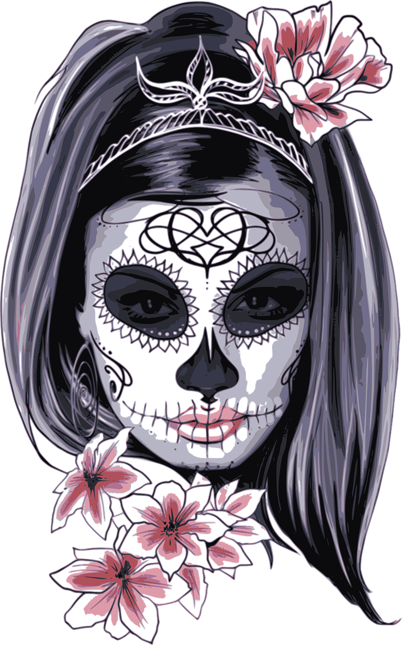 banner freeuse stock Catrina drawing. La calavera skull day