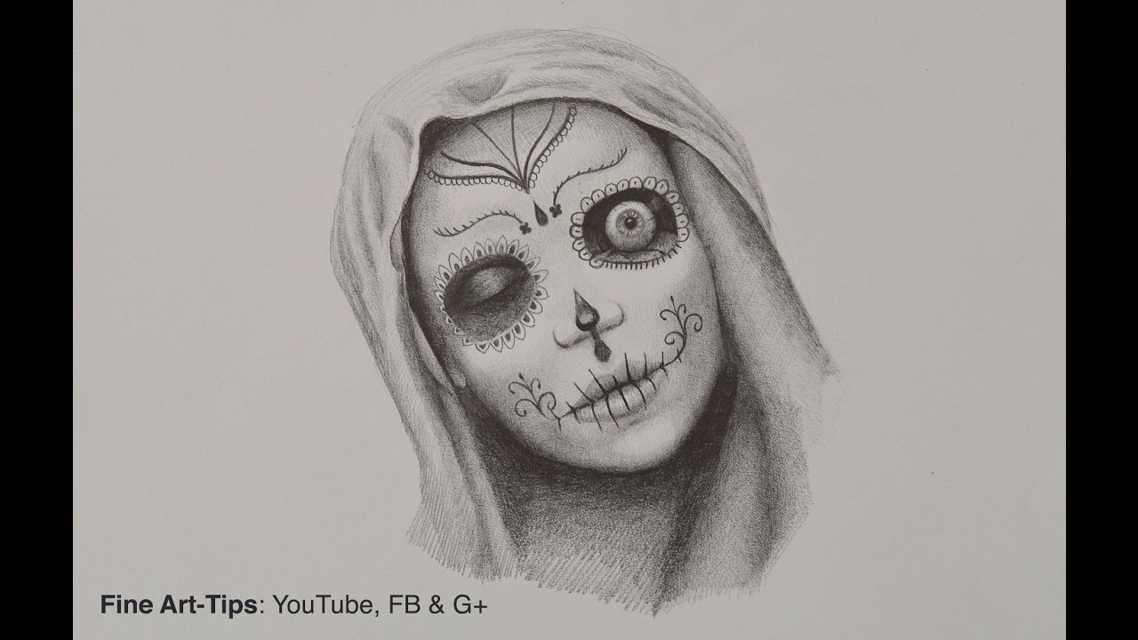 clipart black and white library Catrina drawing. How to draw a