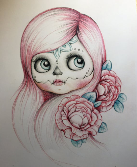 svg transparent download Blythe art print draw. Catrina drawing