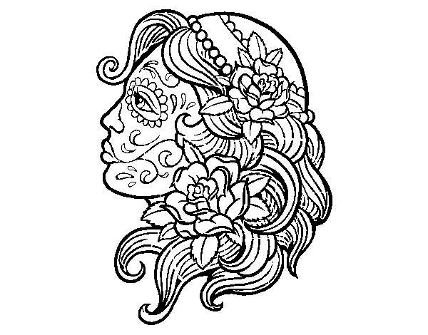 jpg royalty free library Catrina tattoo coloring page