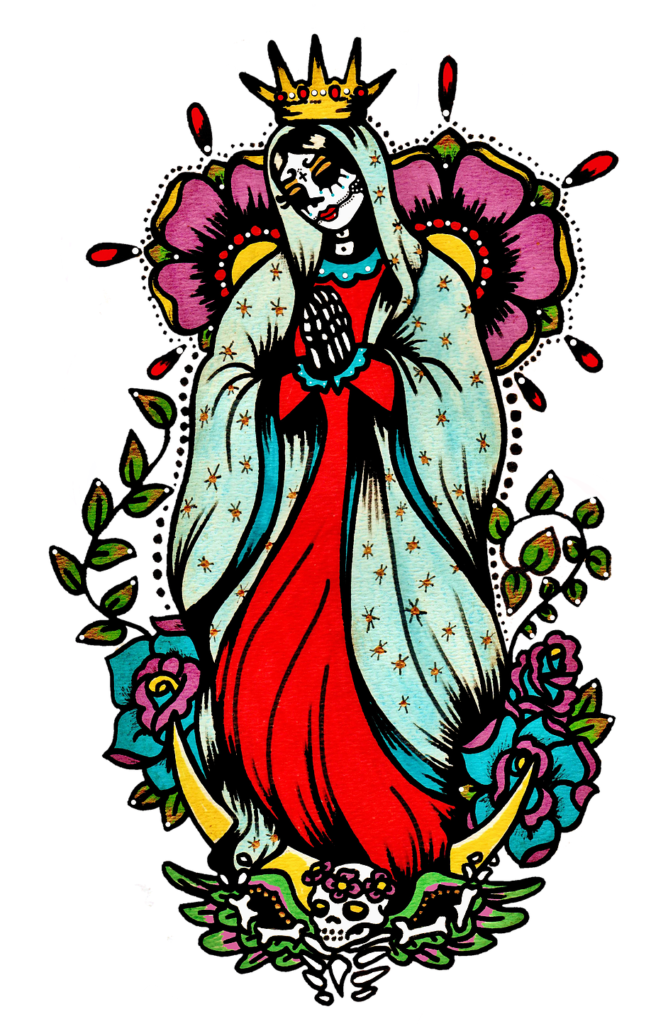 vector library day of the dead art virgin mary tattoo
