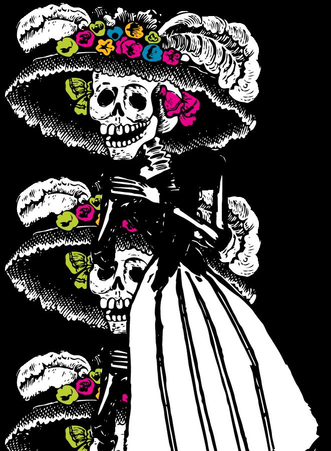 clip free download catrina drawing dia de los muertos #91409518
