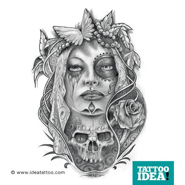 free stock Skull And Sad Catrina Girl Tattoo Sketch