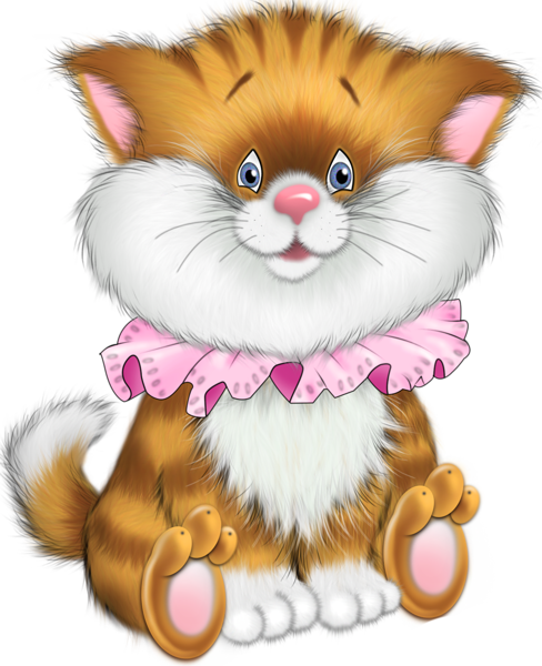 clip library Tiger kitten cartoon free. Kitty clipart ginger cat.