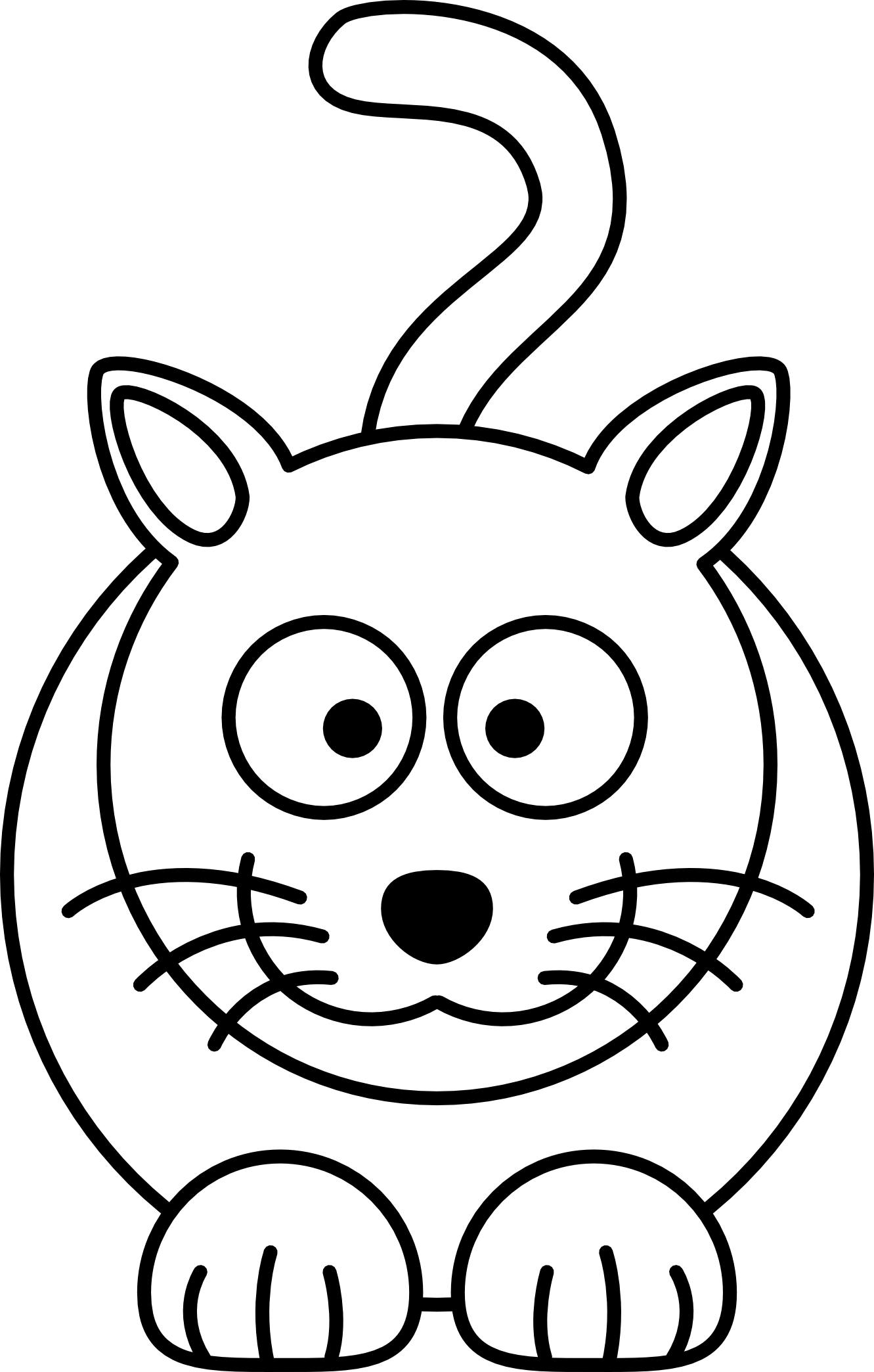 image black and white Drawing printables easy. Line of cat at