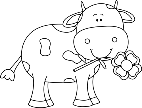 clipart download With a flower in. Cow clipart black and white