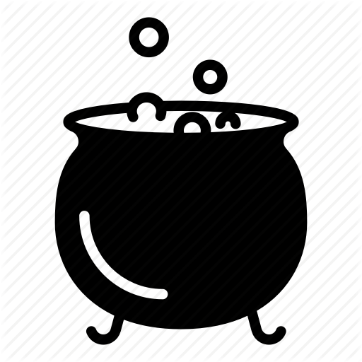 banner black and white download Halloween glyph by nikita. Cauldron clipart potion.