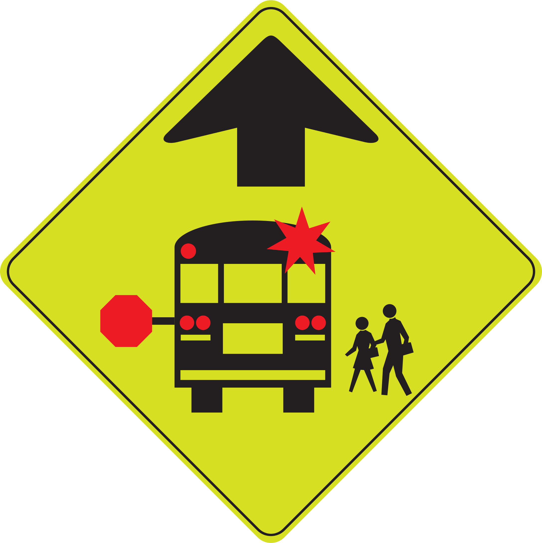 banner royalty free library School bus stop big. Caution clipart ahead.