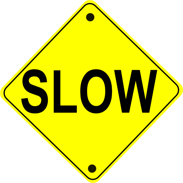 vector Slow road sign clip. Caution clipart ahead.
