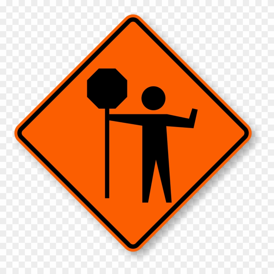 picture free stock Road work sign flagger. Caution clipart ahead.