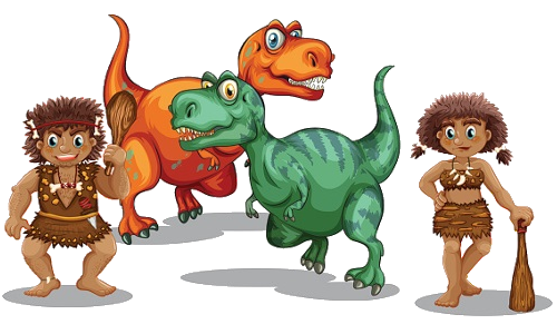 clipart freeuse stock Images cartoon and dinosaurs. Caveman clipart family.