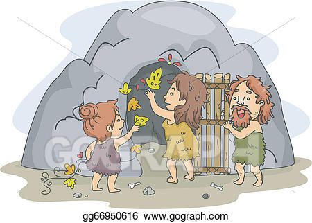 clipart black and white library Vector stock art illustration. Caveman clipart family.
