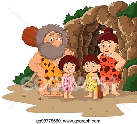 svg royalty free Caveman clipart family. Vector cartoon with cave.