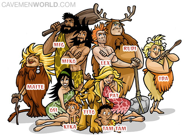 clip freeuse library Transparent free for . Caveman clipart family.