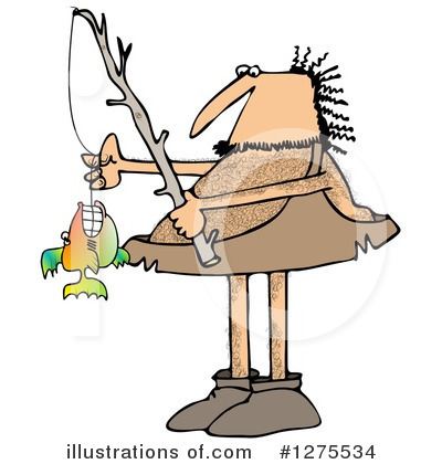 graphic black and white library Caveman clipart fishing. Illustration by djart .