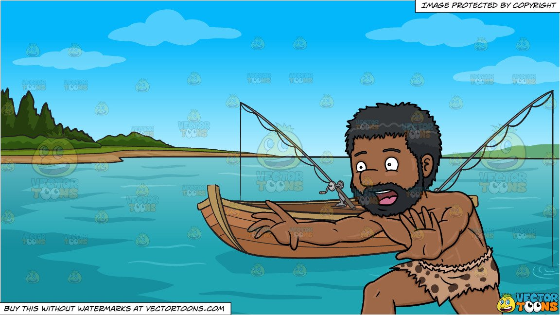 graphic freeuse download A black running away. Caveman clipart fishing.
