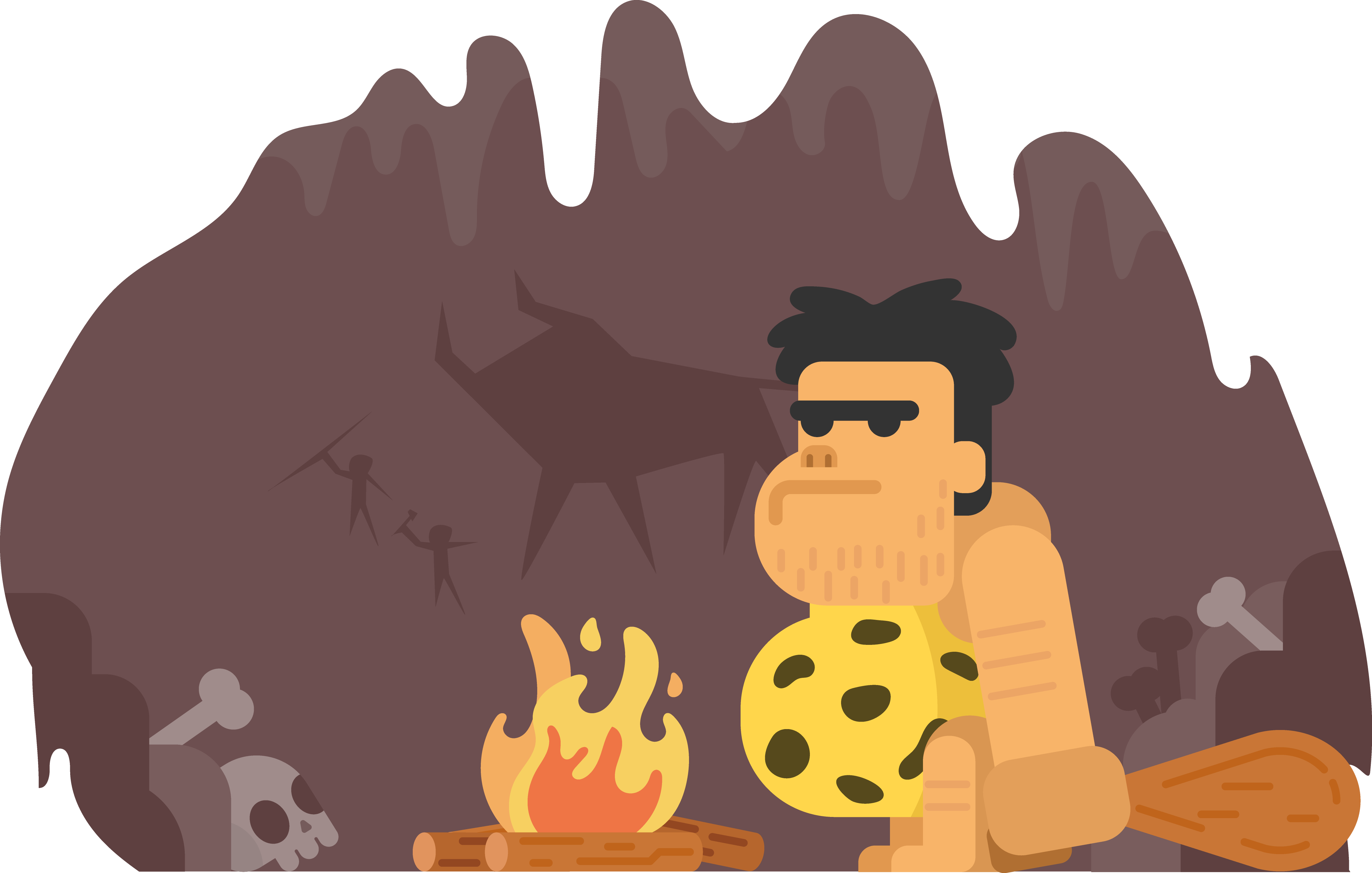 clip black and white Caveman clipart neanderthal. Stone age the cave.