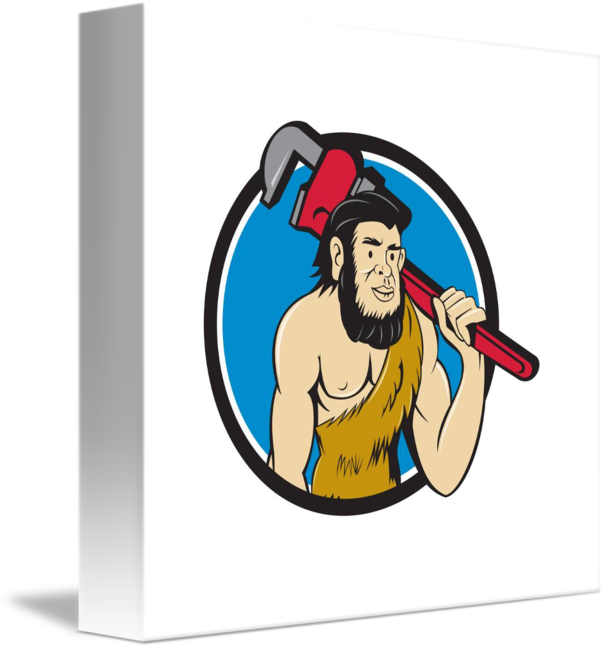 image black and white library Plumber monkey wrench circle. Caveman clipart neanderthal.