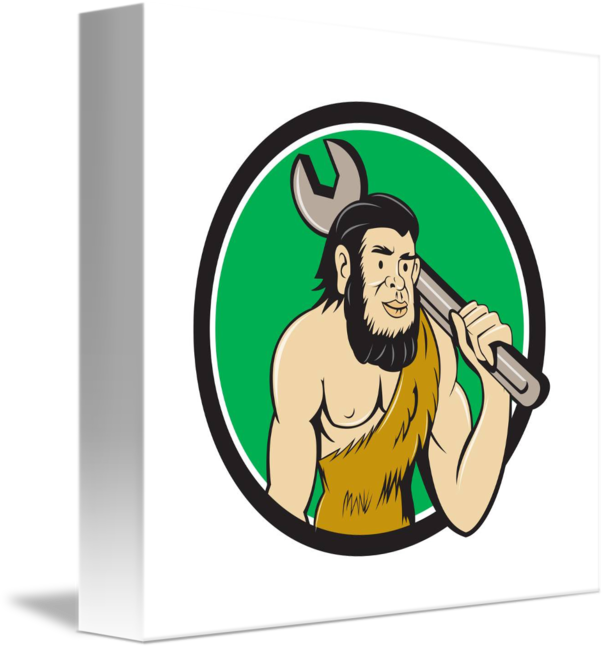 svg free Caveman clipart neanderthal. With spanner circle cartoon.