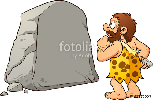 clip transparent library Caveman clipart rock. Looking at a large.