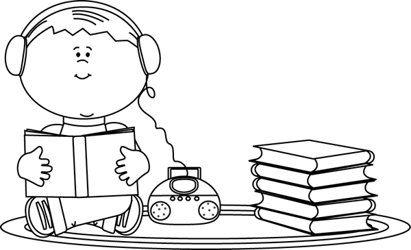 banner royalty free library Listening clipart black and white. Boy to a book