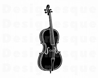 vector black and white library Etsy . Cello clipart tool.