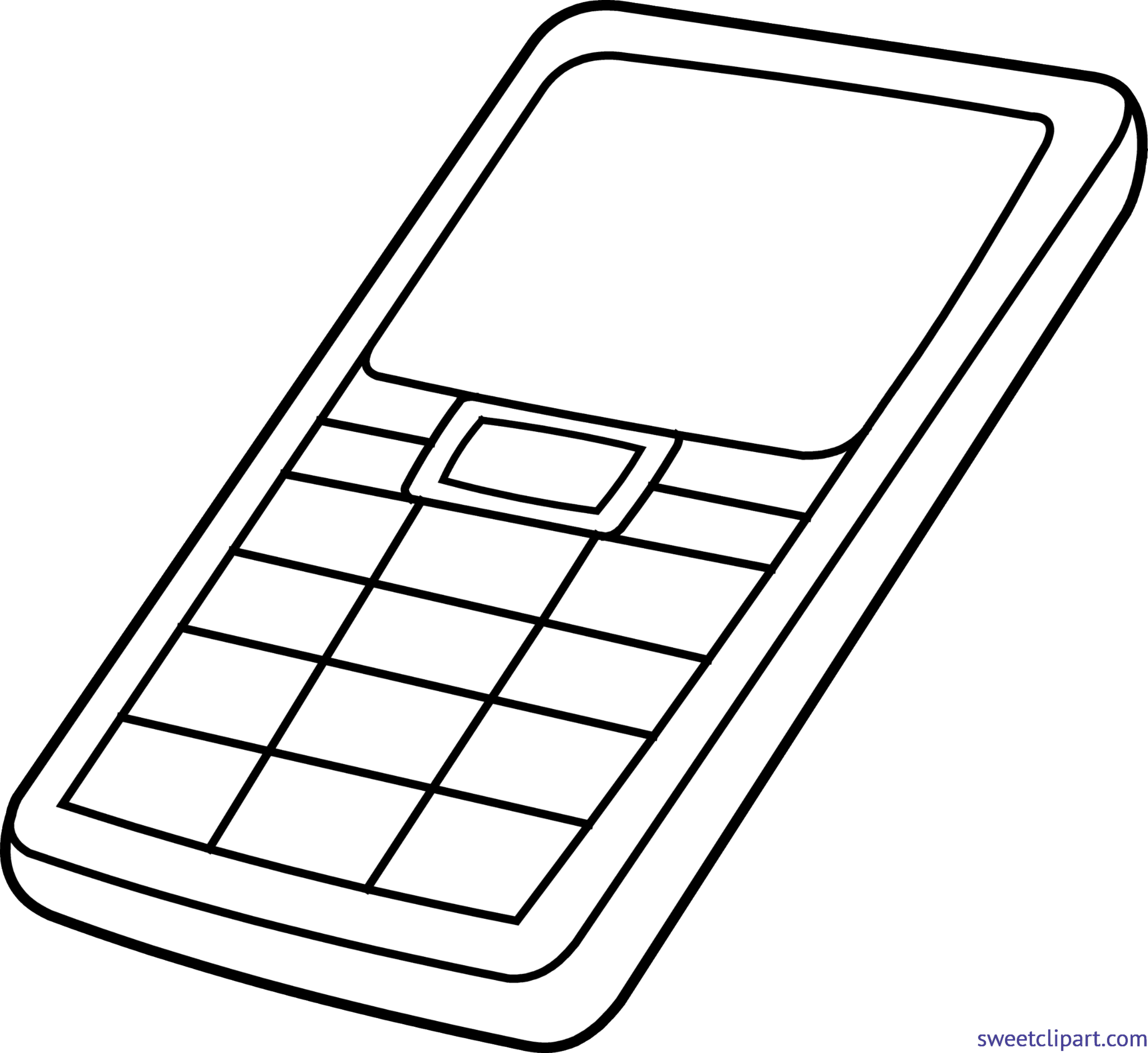 png black and white stock Cell phone lineart clip. Cellphone clipart gadget.