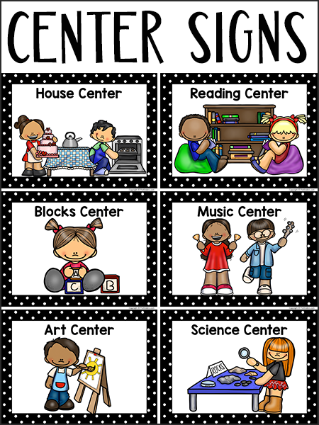 png royalty free library Center clipart classroom activity. Signs prekinders .