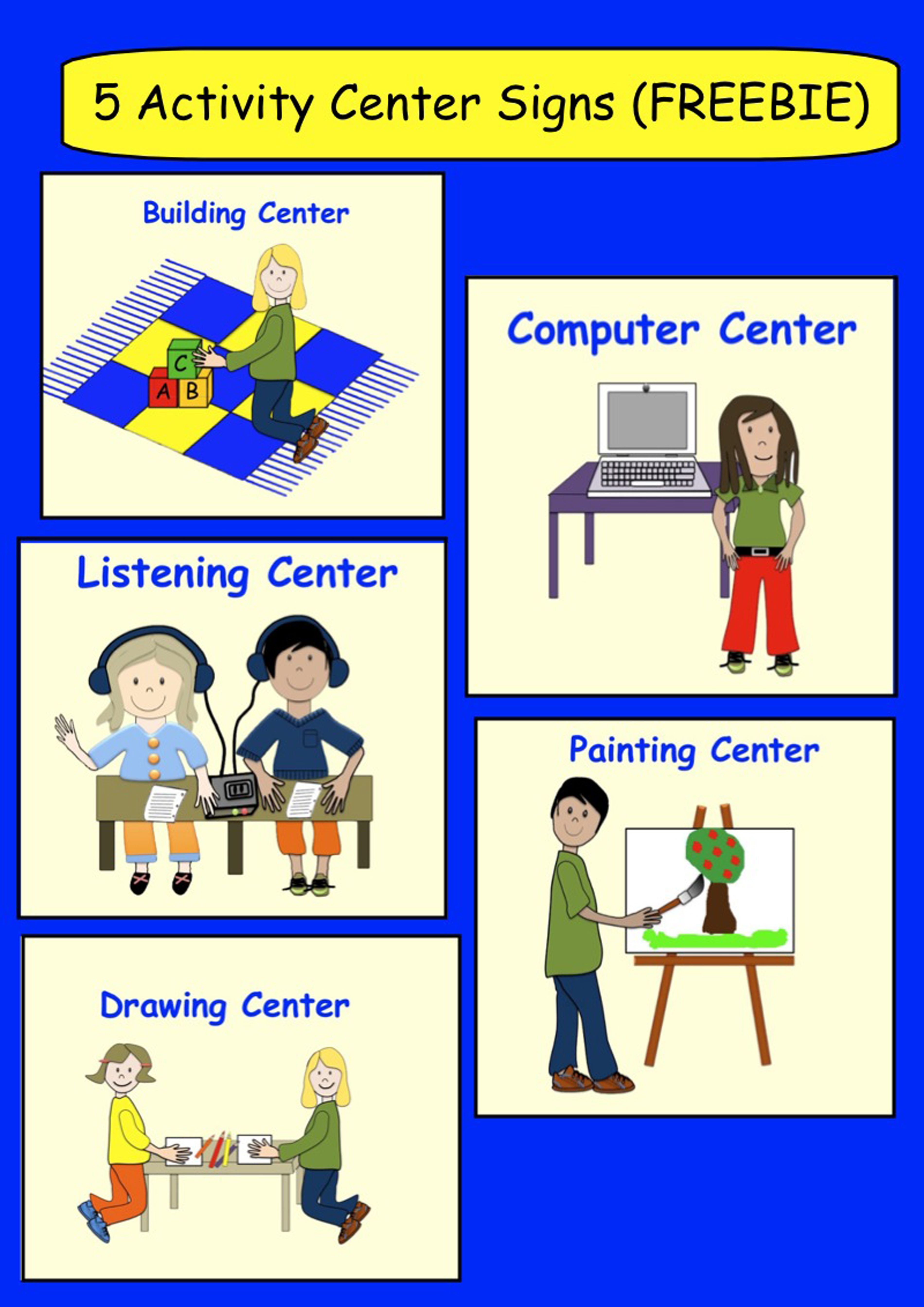 royalty free download Center clipart classroom activity.  centre signs freebie.