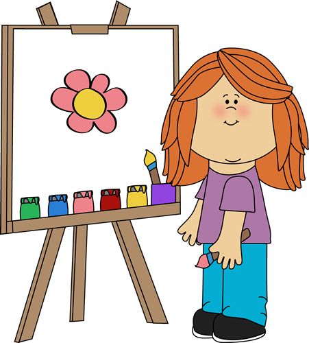 clip freeuse Clipart art class. Girl painting on easel