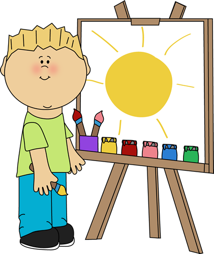 clipart black and white download Boy painting on an. Easel clipart short.