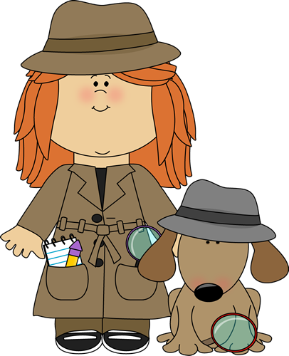 jpg black and white download Girl detective with dog. Centers clipart inspector.