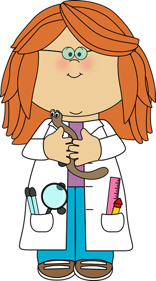 jpg black and white library Girl scientist with worm. Centers clipart inspector.