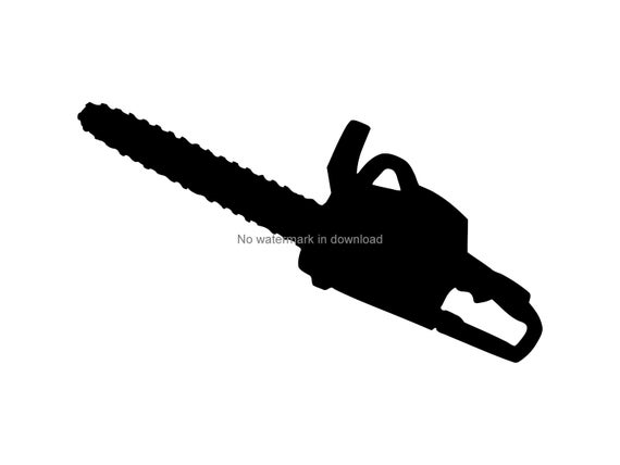 clip black and white stock Vector image printable cutting. Chainsaw clipart.