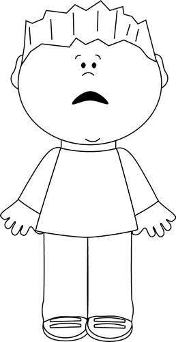 image transparent stock Black and white boy. Scared kid clipart