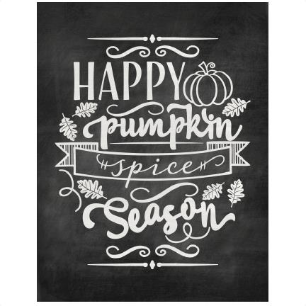 jpg black and white library Chalkboard clipart gray. Happy pumpkin spice season.