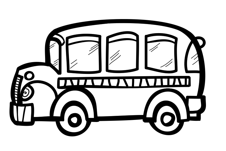 png royalty free Back to school clipart black and white. Bus drawing for kids