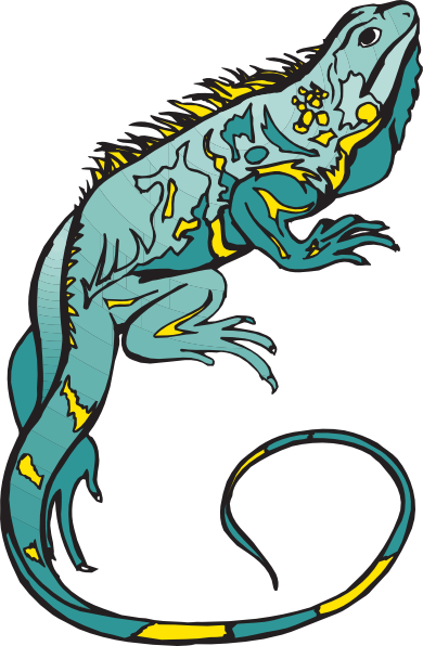 graphic Chameleon vector cute. Blue and yellow clip