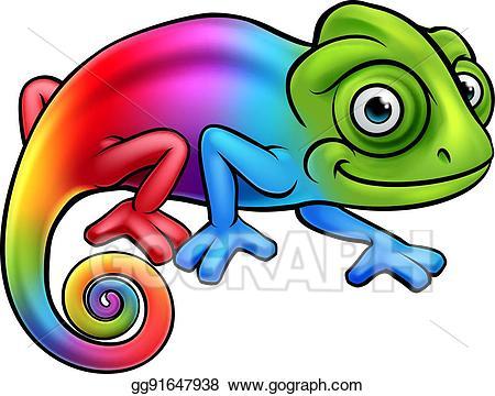 clipart free stock Stock cartoon rainbow clipart. Chameleon vector clip art