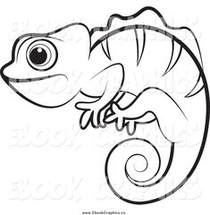 picture free Vector stock illustration royalty. Chameleon clipart drawing.