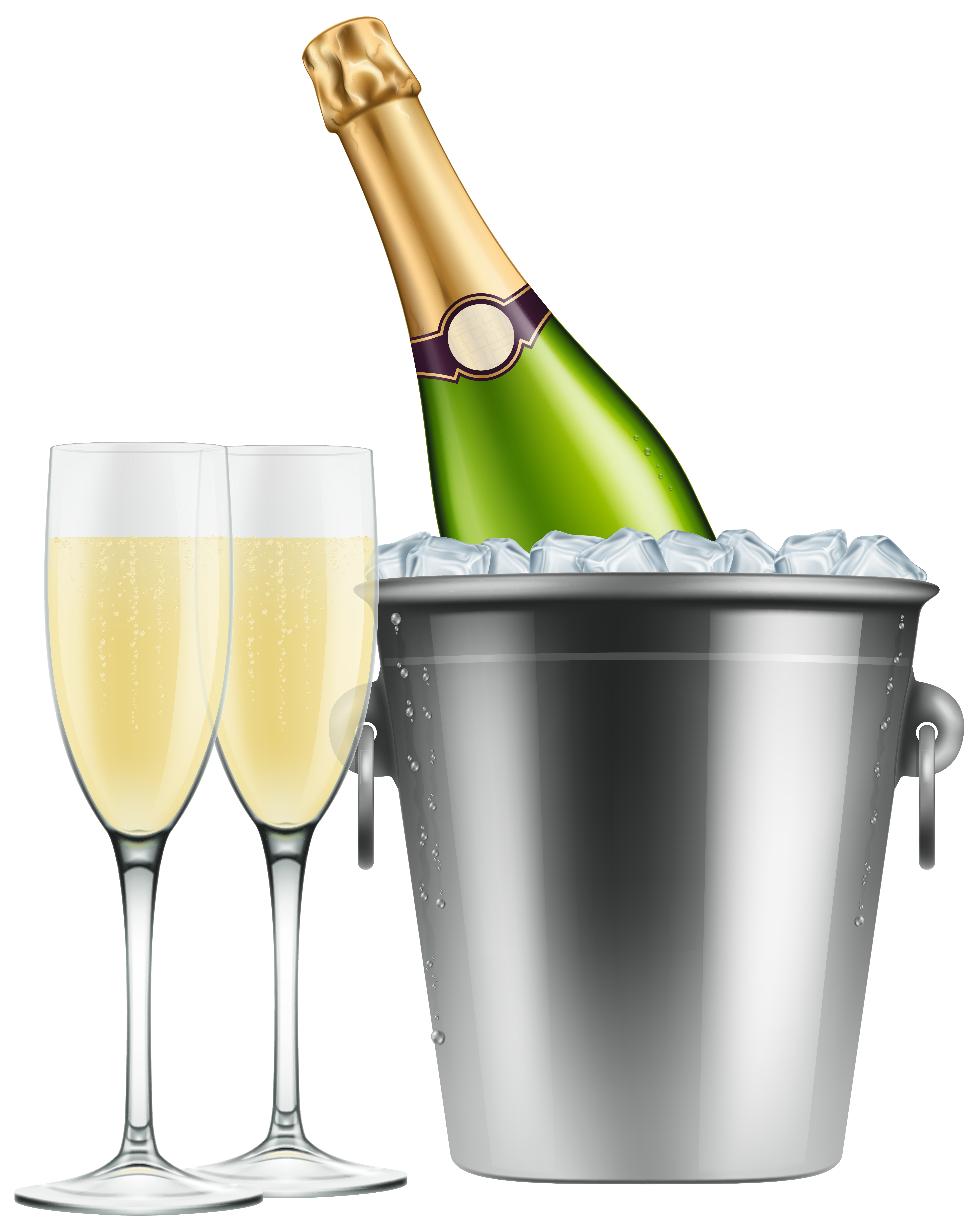 graphic In ice and glasses. Champagne clipart.