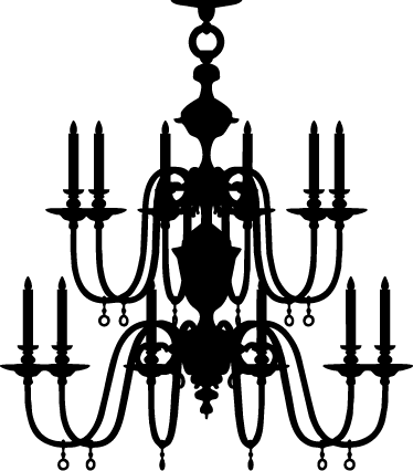 jpg library download White silhouette at getdrawings. Chandelier clipart.