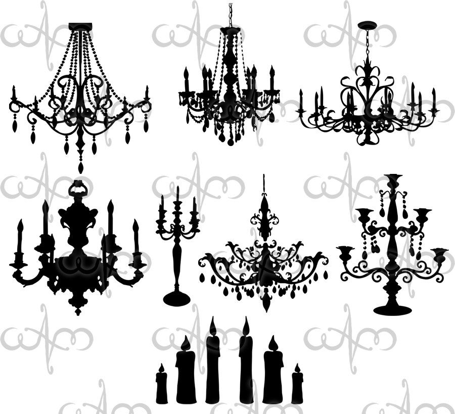 vector black and white download Chandeliers clip art graphic. Chandelier clipart baroque.