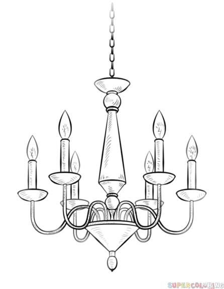 clip stock How to a step. Chandelier clipart draw.
