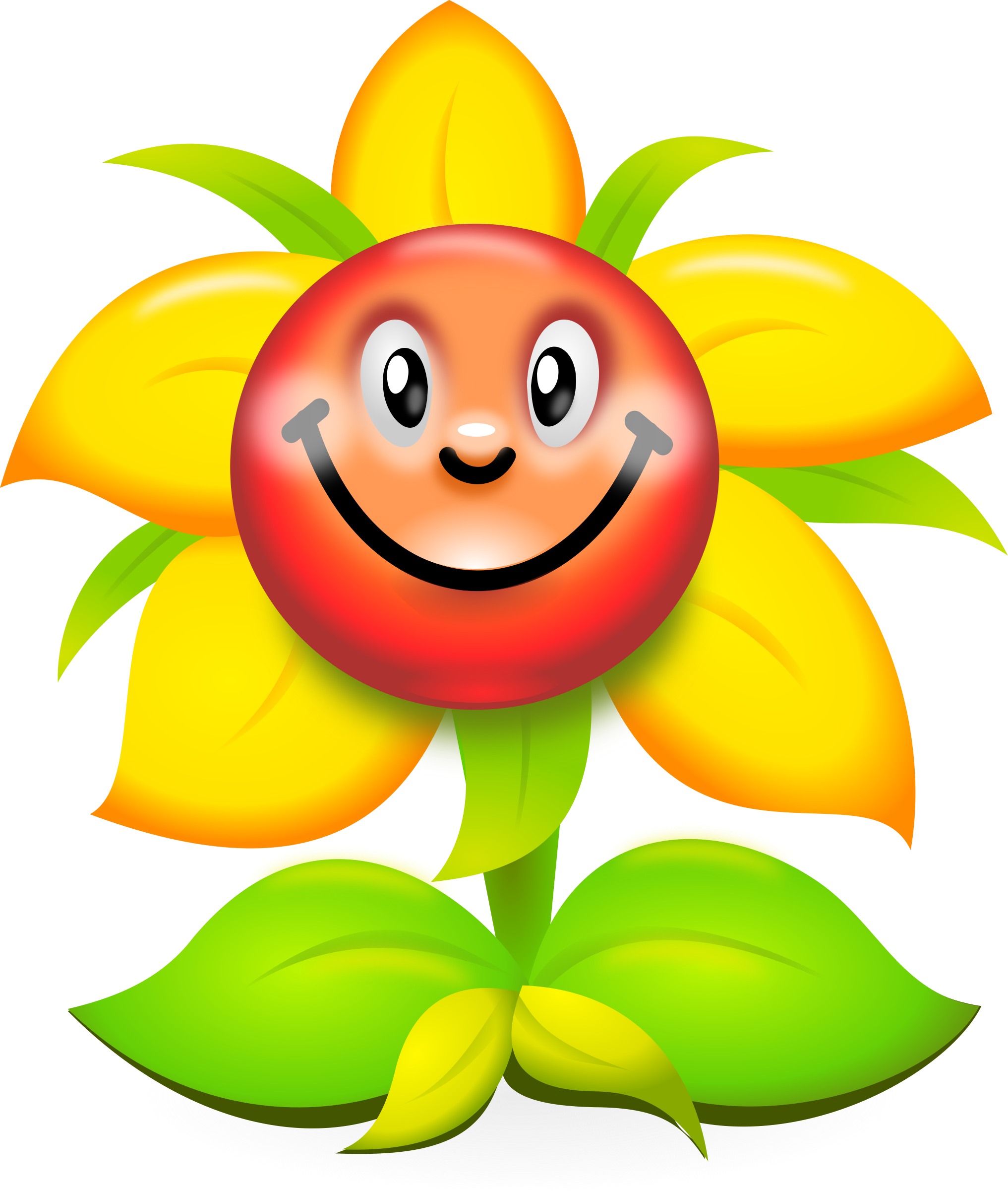 png royalty free Character clipart flower. Funny yellow superb production.