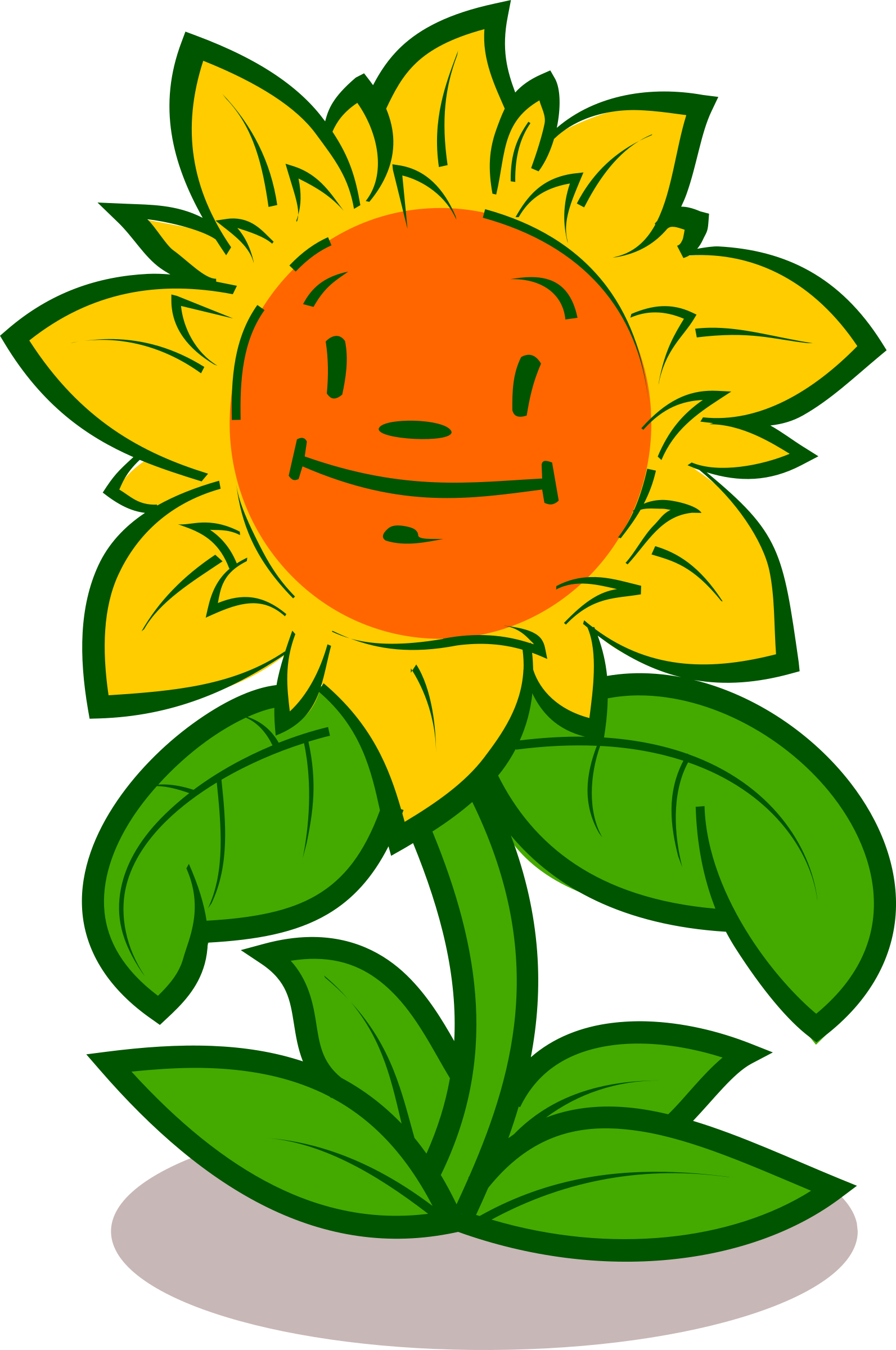 graphic Cartoon cute big image. Character clipart flower.