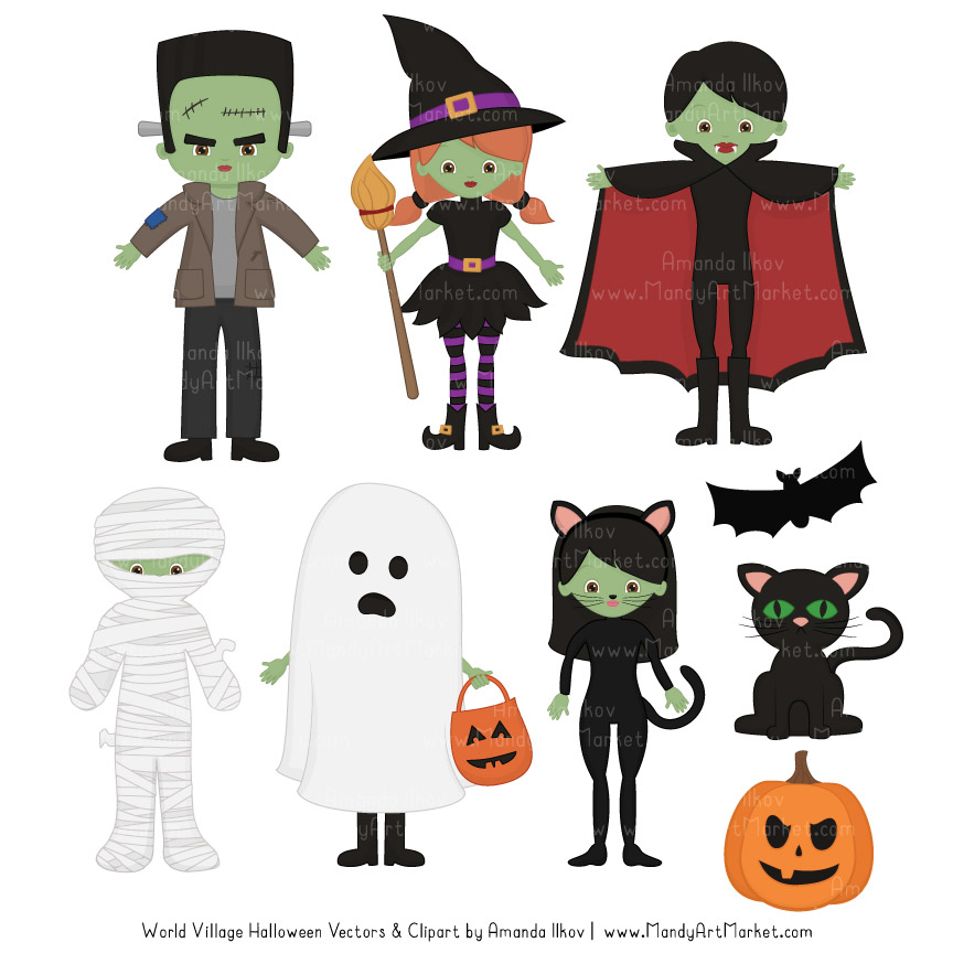freeuse stock Spooky halloween . Characters clipart.