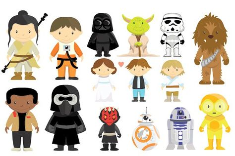 library Characters clipart. Star wars set illustrations.