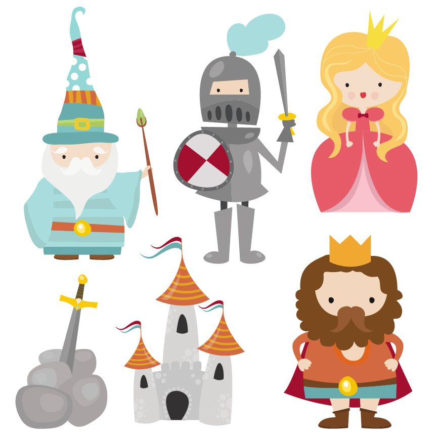 png stock A cute camelot set. Characters clipart.